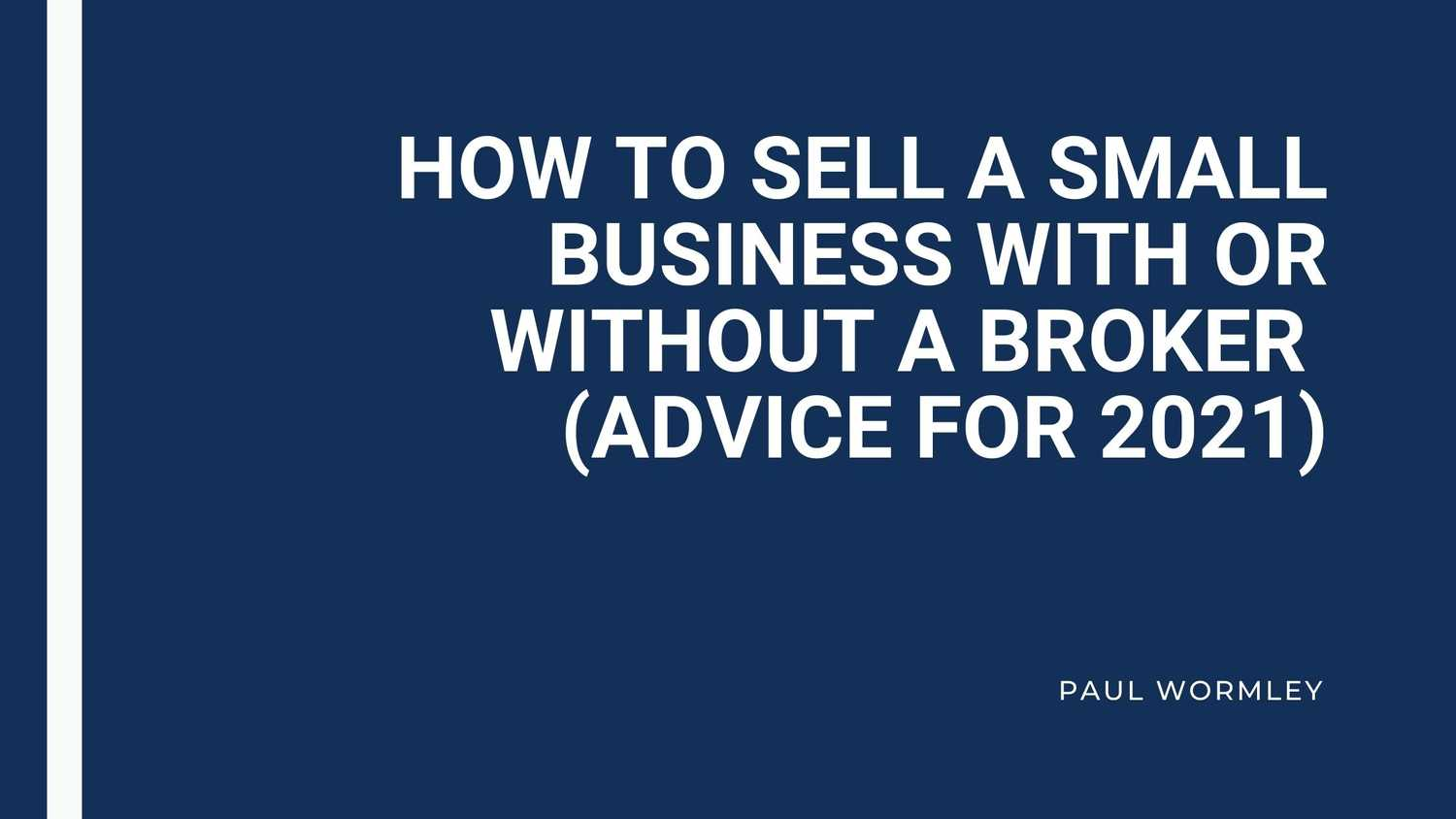 how to sell a small business